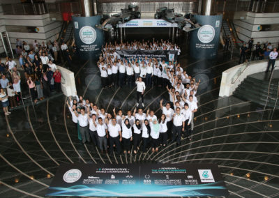 Valtteri Bottas celebrates the fifth World Constructors Championship with PETRONAS-1